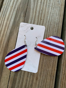 Patriotic Teardrop faux leather earrings Stripes