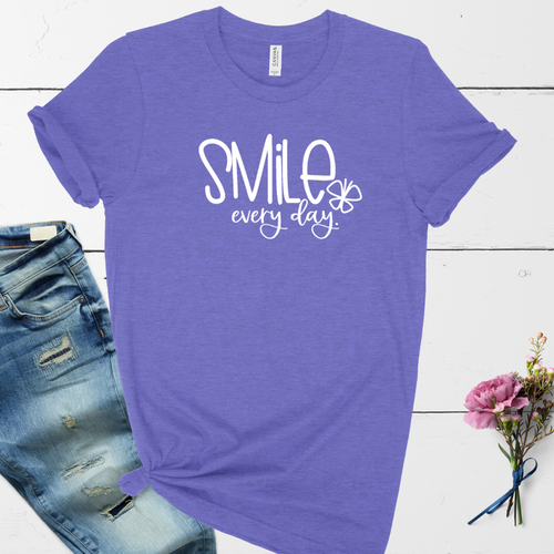 Smile Everyday tee - lavender Heather