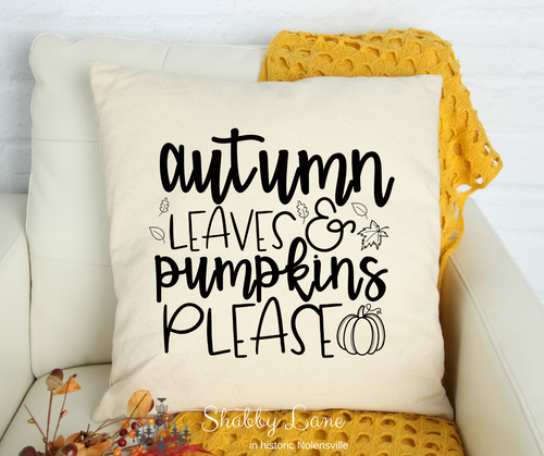 Autumn Leaves and Pumpkins please Canvas pillow