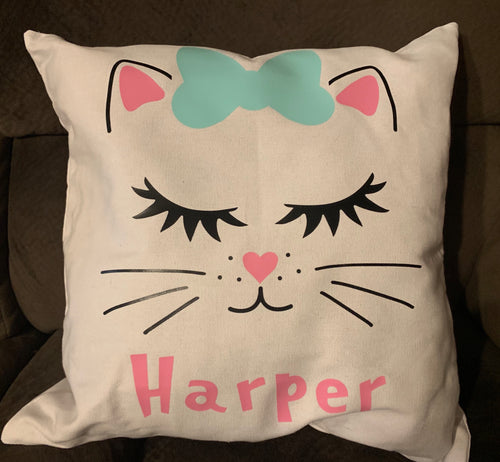 Kitten personalized Canvas pillow