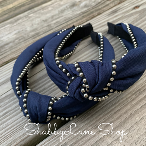 Beautiful Navy knotted headband