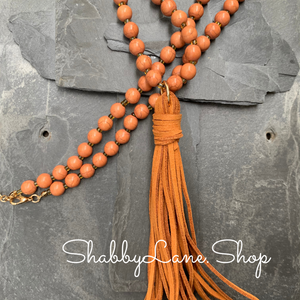 Tassel beaded necklace - light brown
