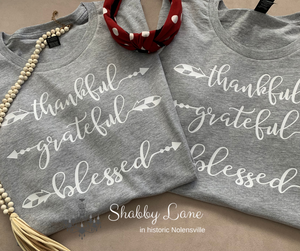 Thankful grateful blessed arrows heather grey
