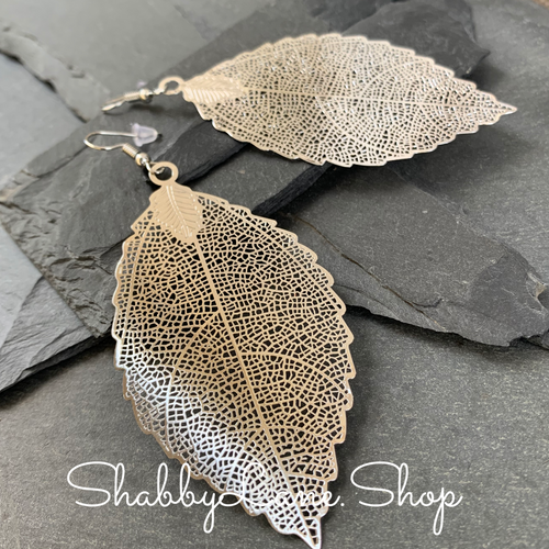 Silver leaf filigree earrings