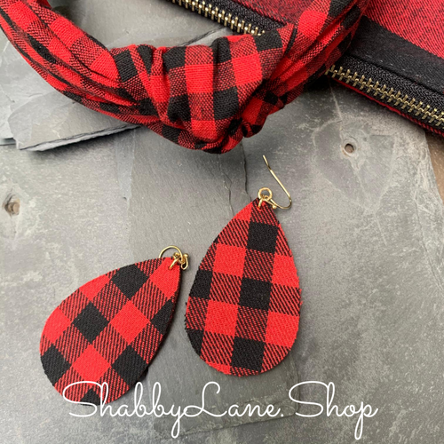 Buffalo plaid  earrings -red fabric