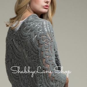 Beautiful crochet poncho with fringe- Dk gray