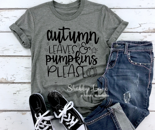 Autumn leaves and Pumpkins please - black letters