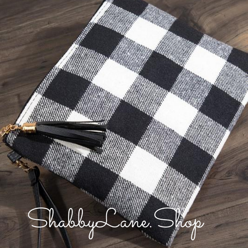 White and black plaid crossbody/wristlet