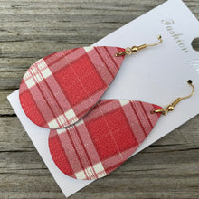 Load image into Gallery viewer, Buffalo plaid leather earrings