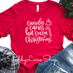 Candy Canes Hot Cocoa Christmas- red long sleeve