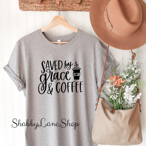 Saved by Grace and Coffee - Gray T-shirt