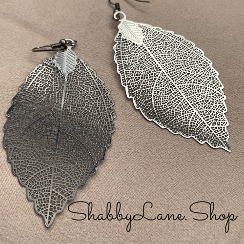 Gray metallic leaf filigree earrings