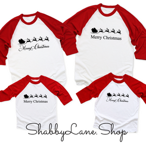 Santa Sleigh Merry Christmas - bodysuit- white