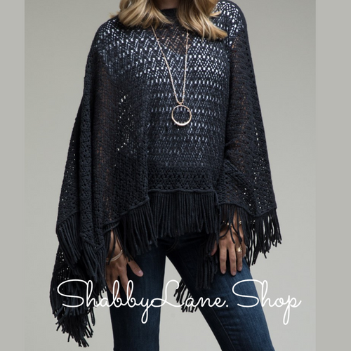 Beautiful crochet poncho with tassel- black