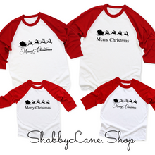 Load image into Gallery viewer, Santa Sleigh Merry Christmas  -unisex red sleeves