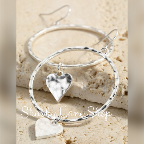 Hammered heart silver earring hoops