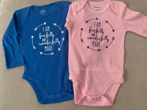 PINK. I am fearfully and wonderfully made Infant pink onesie