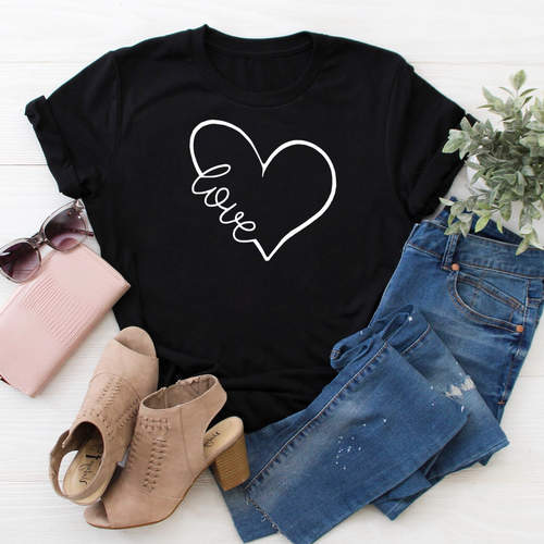 Love Heart black tee