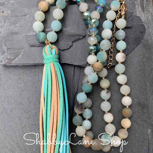 Tassel beaded necklace - amazonite