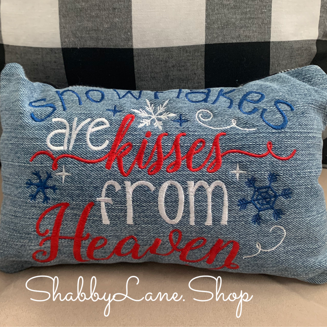 Snowflakes are kisses from heaven accent pillow red