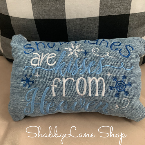 Snowflakes are kisses from heaven accent pillow light blue