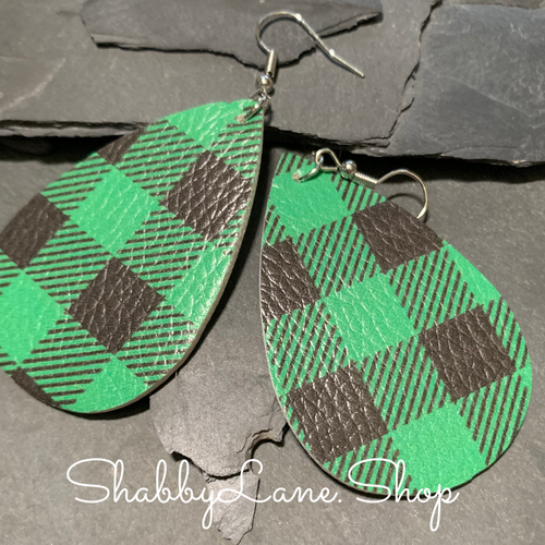 Buffalo plaid  earrings - green and black