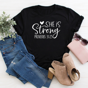 She is Strong black tee
