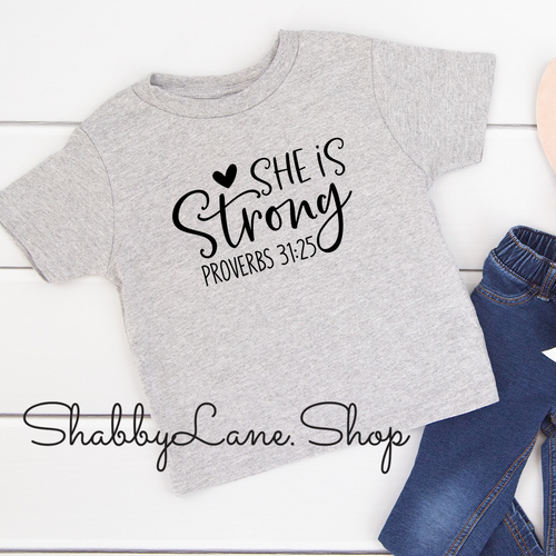 She is Strong - toddler/kids - grey T-shirt