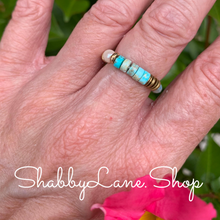 Load image into Gallery viewer, Aqua beaded ring.