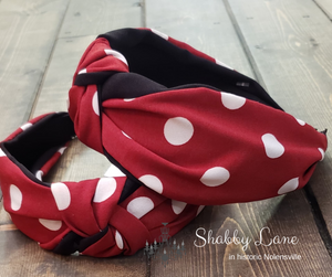 Dark Red  polka dot headband