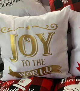 Joy to the world -Canvas pillow -gold