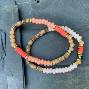 Beaded coral bracelet duo - Mermaid