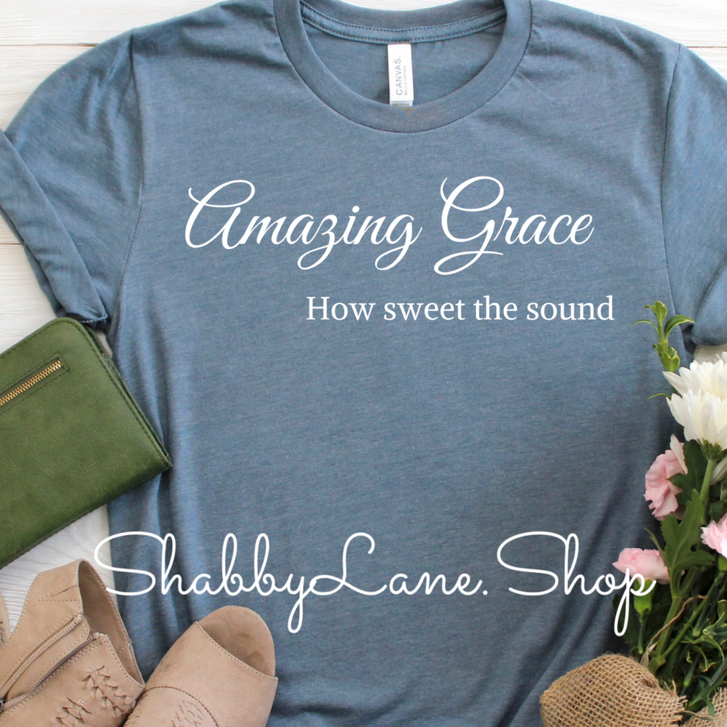 Amazing Grace how sweet the sound tee Slate