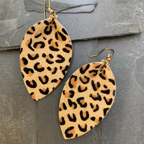 Leopard earrings  pinched teardrop- tan