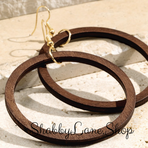 Beautiful wood hoop earrings -brown