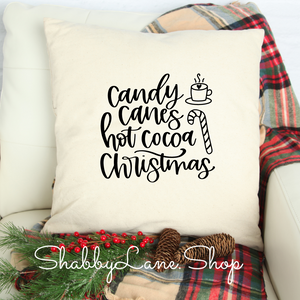 Candy canes, hot cocoa- white pillow