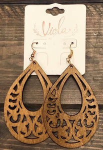Wooden laser cut  oval earrings