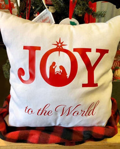 Joy to the world -Canvas pillow -red