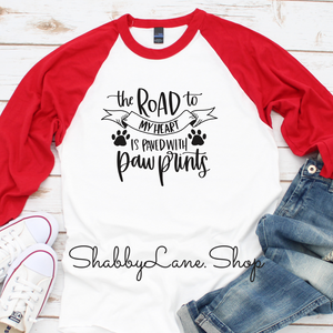 The road to my heart- paw prints - red sleeves