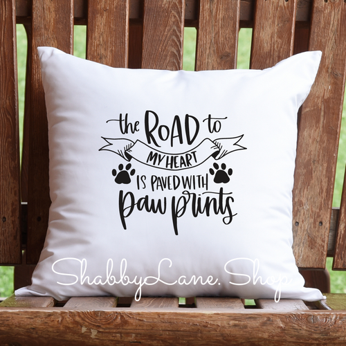 The road to my heart- paw prints - pillow white