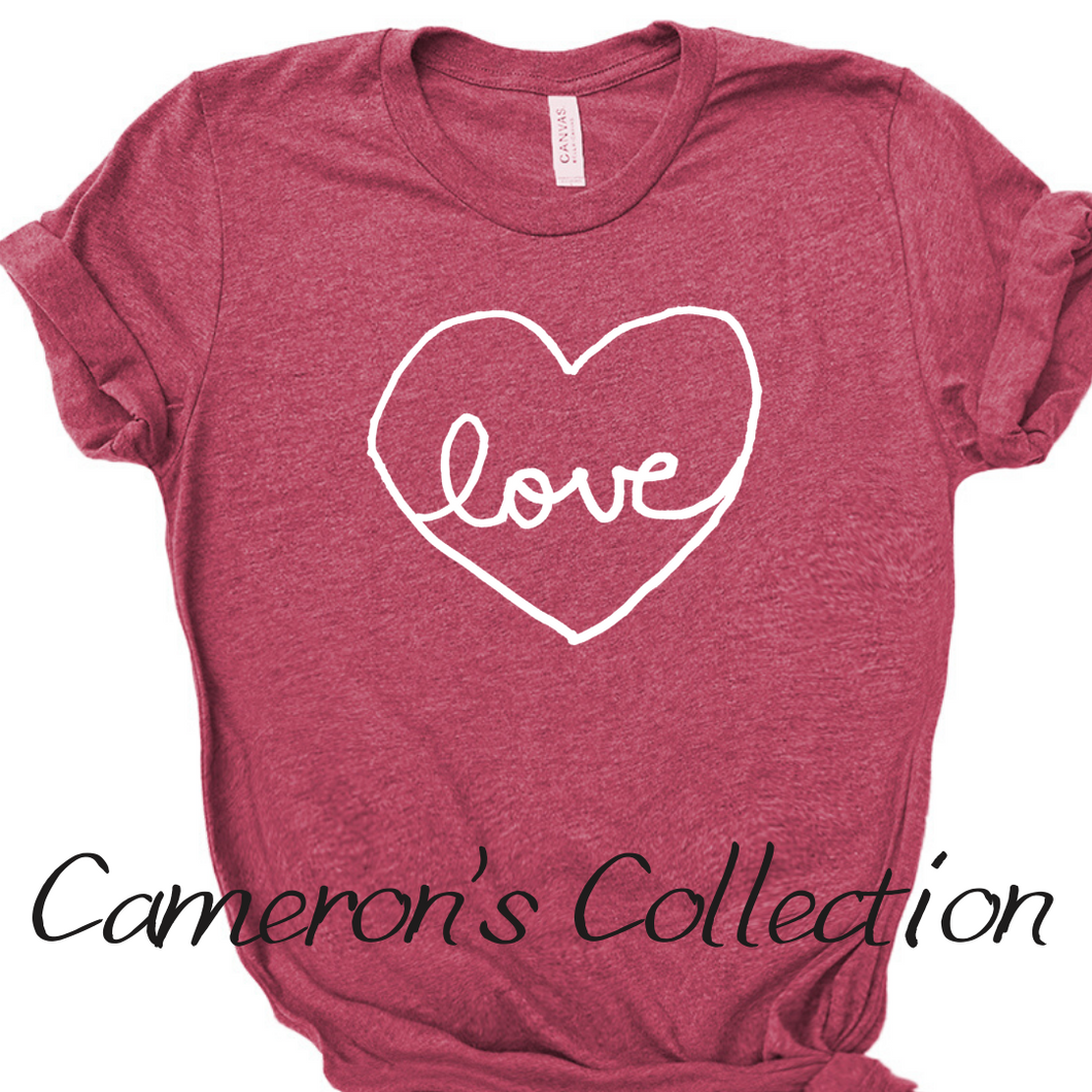 Love heart - Cameron Collection Heather raspberry white text
