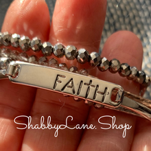 Load image into Gallery viewer, Faith bracelet -  Silver with roundel bead trio