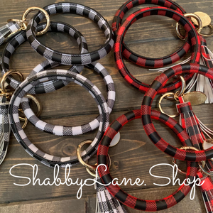 Tassel buffalo plaid bracelet key ring