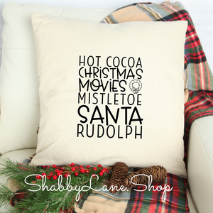 Hot cocoa Christmas movies - white pillow