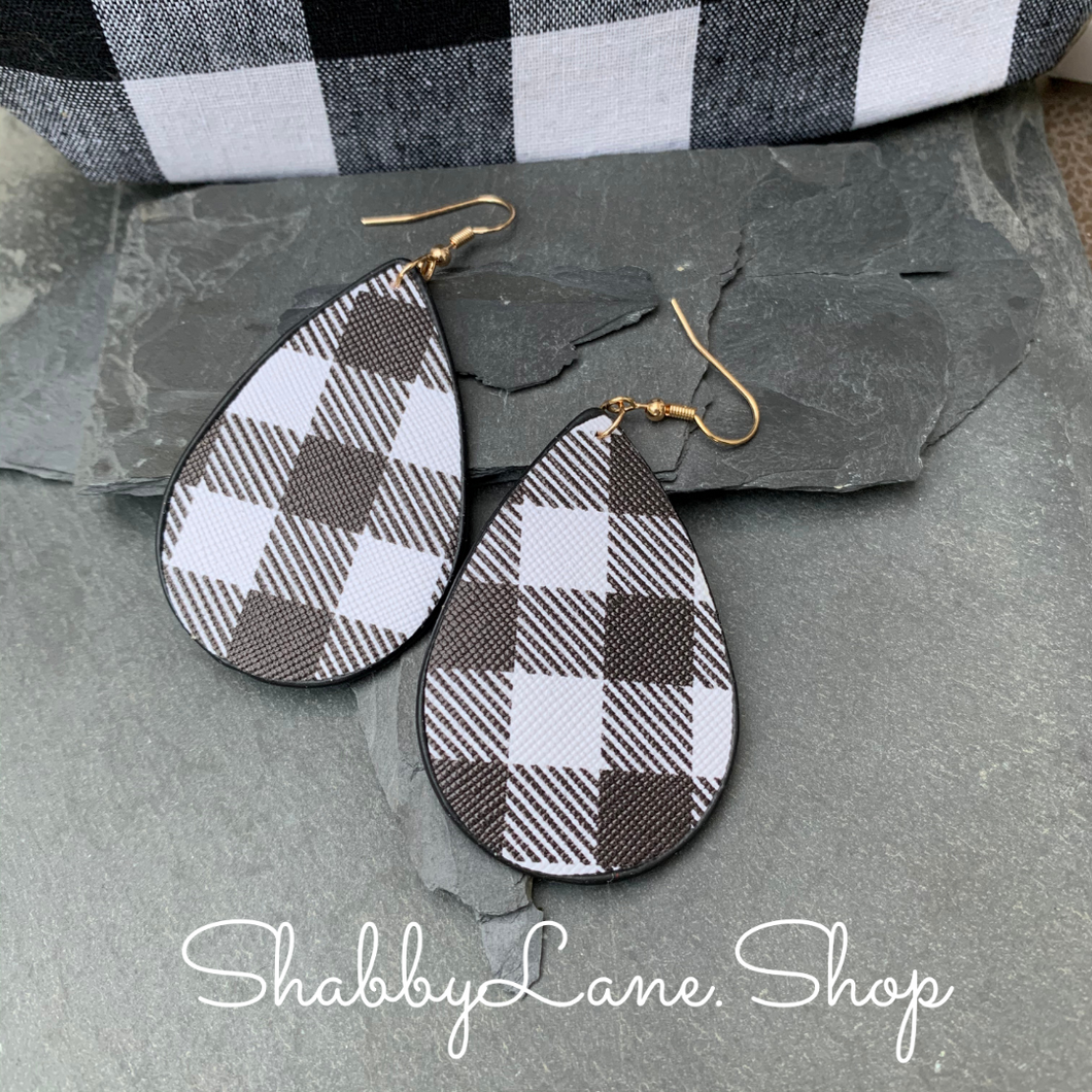 Buffalo plaid  earrings -Black