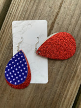 Load image into Gallery viewer, 4th of July Teardrop faux leather earrings glitter red