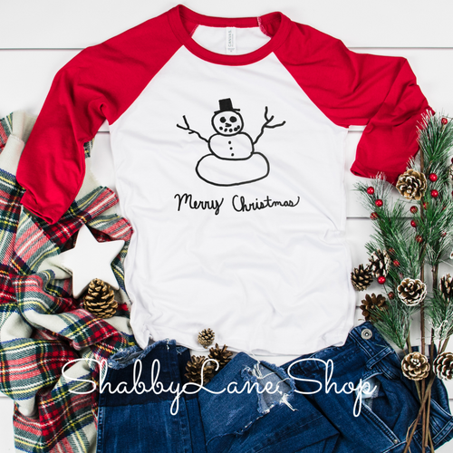 Merry Christmas snowman- Cameron collection red sleeves