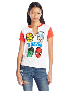 Marvel Comics Classic Retro Superhero Heads Split V-Neck Jrs T-Shirt, White/Red