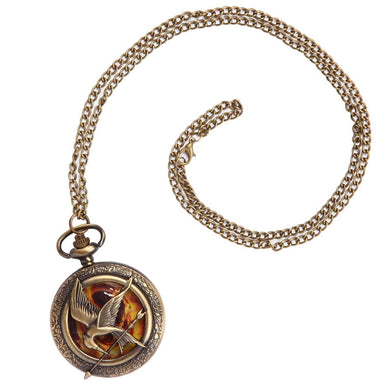 The Hunger Games Mockingjay Pocket Watch Pendant Chain Necklace