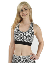 Disney Mickey Mouse All-Over Print Sports Bra Top Crop Top, Black & White